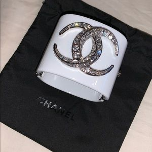 Chanel cuff bracelet with camel pouch